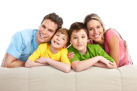 Happy family. Father, mother and children. Over white background Stock Photo - 7251812