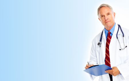 patient and doctor: Medical doctor with stethoscope. Isolated over white background
