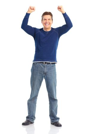 male age 40's: Happy smiling man. Isolated over white background  Stock Photo