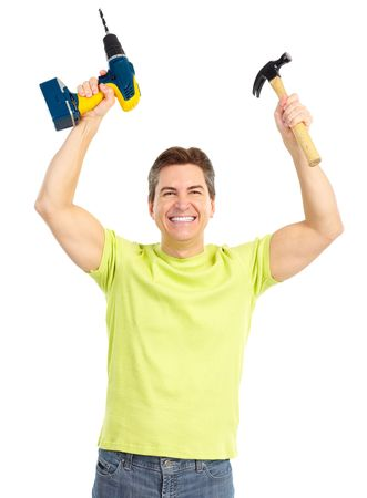perforate: Handsome man with cordless drill and hammer.  Isolated over white background  Stock Photo