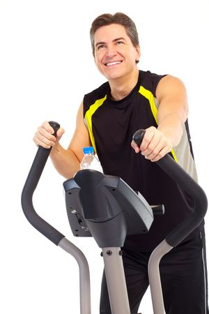 Smiling mature strong man working out. Isolated over white background  photo