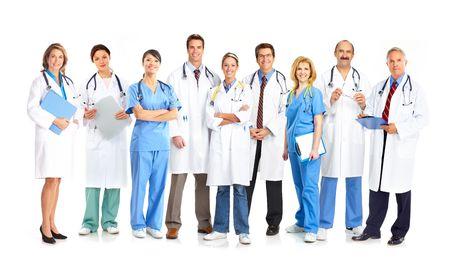 doctor verpleegster: Lachende artsen met stethoscopen. Geïsoleerd op witte achtergrond  Stockfoto