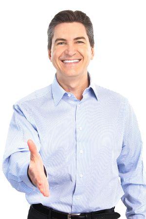 edad media: Empresario guapo sonriente. Aislados sobre fondo blanco