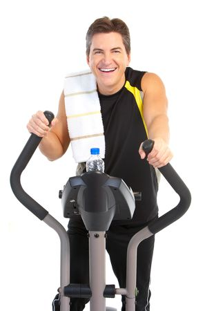 Smiling mature strong man working out. Isolated over white background Stock Photo - 7184551