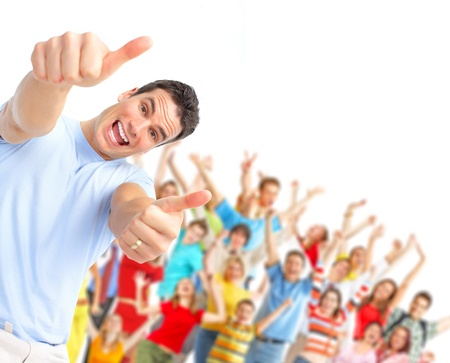 Happy man and  group of young dancing people Stock Photo