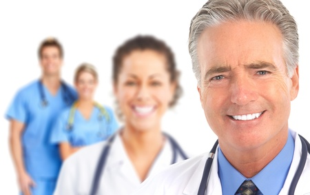 Smiling doctors with stethoscopes. Isolated over white background photo