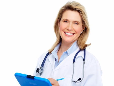 Smiling medical doctor woman with stethoscope  Isolated on white  Stock Photo - 20311897