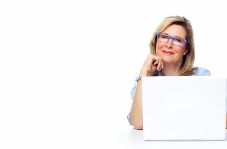senior business: Business woman with laptop