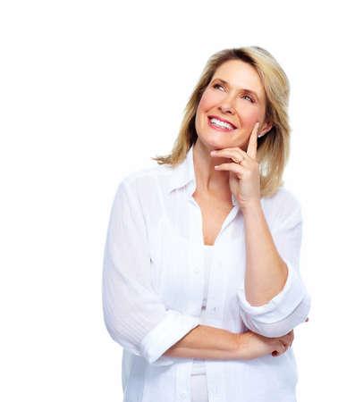 one senior adult woman: Beautiful thinking woman portrait  Stock Photo