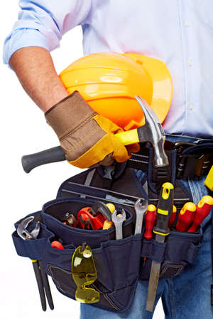 working belt: Worker with a tool belt  Construction  Stock Photo