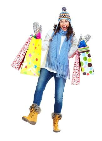 botas de navidad: Compras Hermosa mujer de Navidad con bolsas