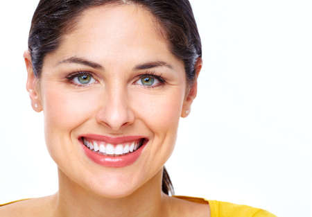 smile close up: Beautiful young woman face  Stock Photo
