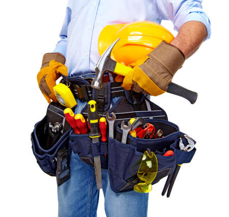 hand tool: Worker with a tool belt  Construction  Stock Photo