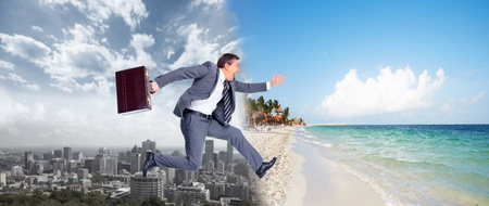 Businessman jumping on the water  photo