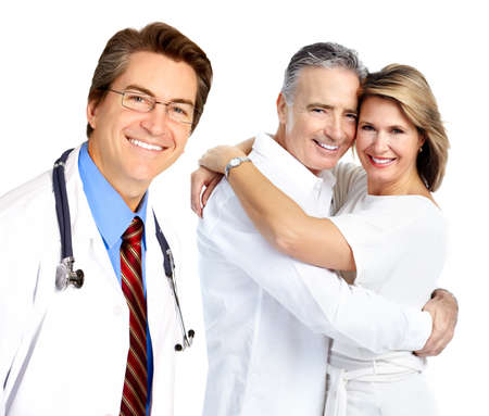 happy patient: Doctor and elderly couple