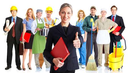 personal de limpieza: Grupo de personas de los trabajadores. Equipo de negocios. Aislado sobre fondo blanco. Foto de archivo