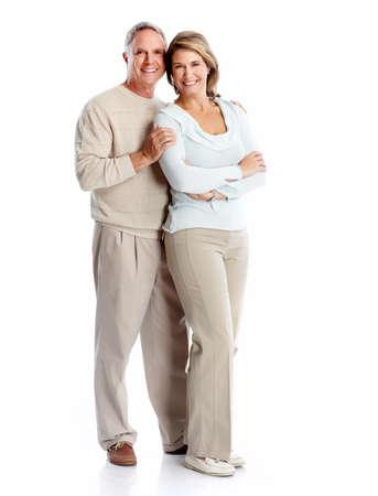 Senior couple portrait. Isolated on white background. Фото со стока