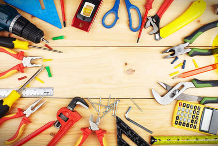hardware tools: Construction tools. Home and house renovation concept background.