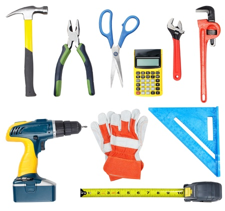 carpenter items: Construction tools. Home and house renovation concept background.