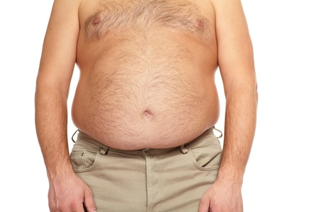 obese man: Fat man with a big belly. Diet.