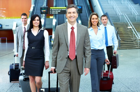 Group of business people in a modern hall. Meeting. Stock Photo - 23180350