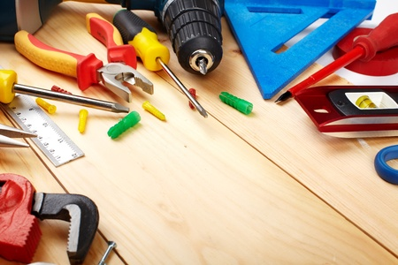 diy home repair: Construction tools. Home and house renovation concept background.