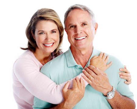 white: Senior couple portrait. Isolated on white background. Stock Photo