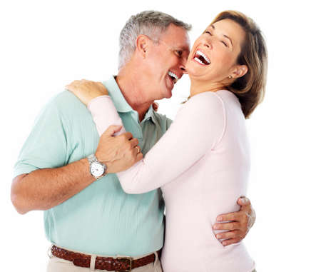 happy healthy woman: Senior couple portrait. Isolated on white background. Stock Photo