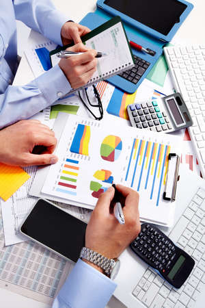 group  accountant: Hand with calculator. Finance and accounting business.