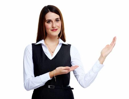 invitando: Invitando a la mujer de negocios. Aislado sobre fondo blanco.