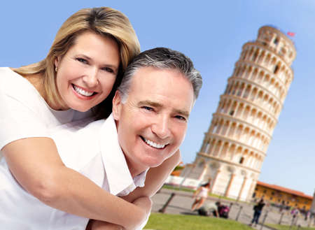 Senior couple in Italy. Tourism and traveling background. photo