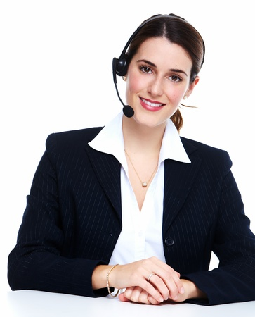 Business woman in headsets. Isolated over white background. photo