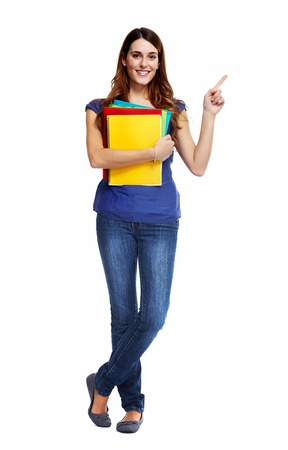 univercity: Standing student woman. Isolated on white background.