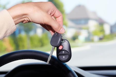 car loan: Car keys. Auto dealership concept.