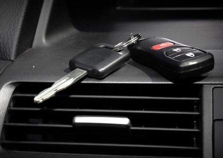 show ring: Car keys. Auto dealership concept.