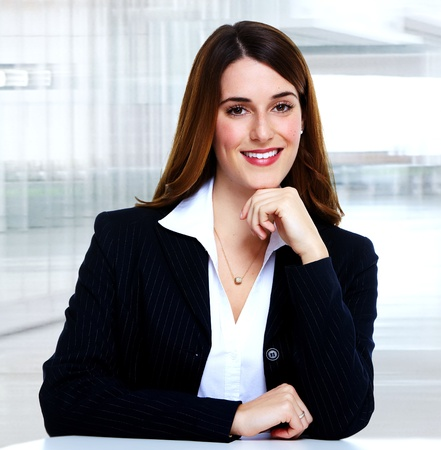 interiour: Business woman working in office