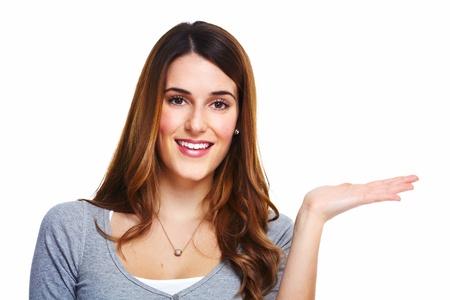 invitando: Mujer de negocios atractivo. Aislado sobre fondo blanco.
