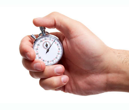 stop time: Hand with a stopwatch. Isolated on white background.
