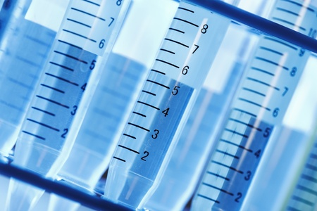drug discovery: Laboratory test tube. Scientific research background. Stock Photo