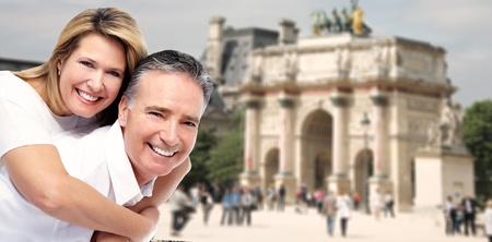 Senior couple in Paris. Tourism and traveling background. photo