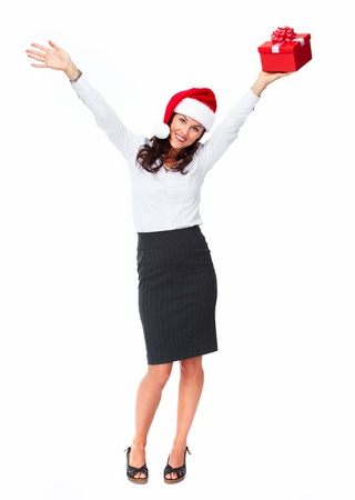 Santa helper christmas girl with  gift isolated on white background. photo