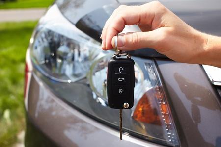 car loan: Car key. Auto dealership concept.