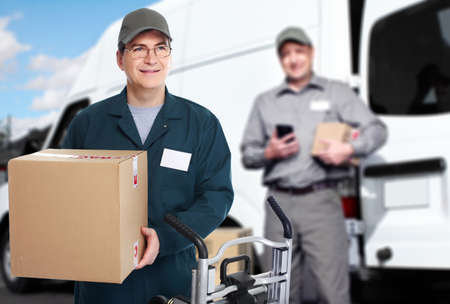 parcel service: Delivery courier. Shipping and moving service background.