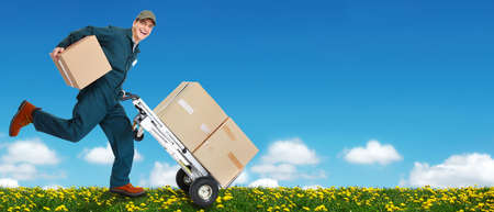 delivery service: Delivery courier. Shipping and moving service background.