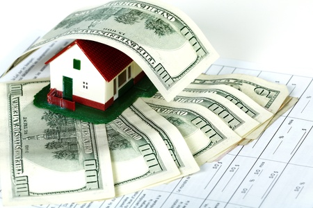 Family house with money and contract. Real estate background. Stock Photo - 21757613