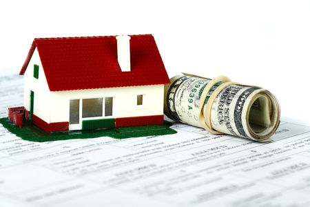 housebuilding: Family house with money and contract. Real estate background. Stock Photo