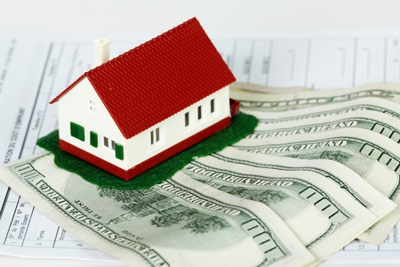Family house with money and contract. Real estate background. photo