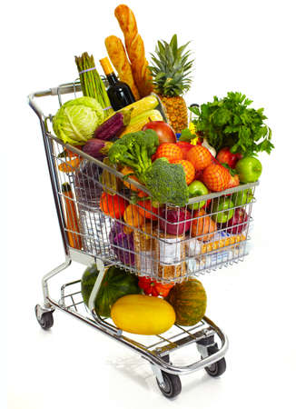supermarket: Full shopping grocery cart. Isolated on white background.