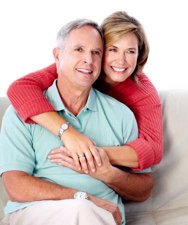 Senior couple portrait. Isolated on white background. Stock Photo