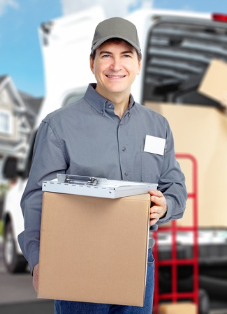 Delivery courier. Shipping and moving service background. photo